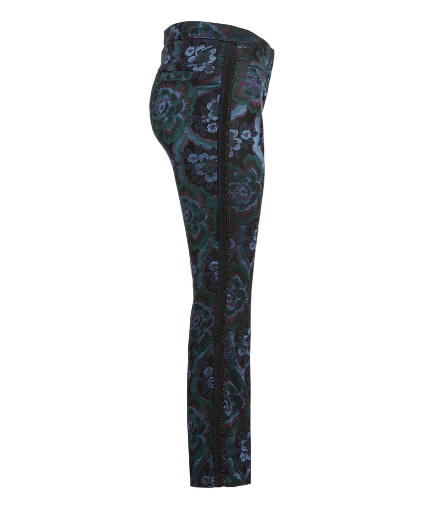 Blågrønnmønstret brokade cropped bukse med stripe i siden Cambio - 6729 0207/10 famous