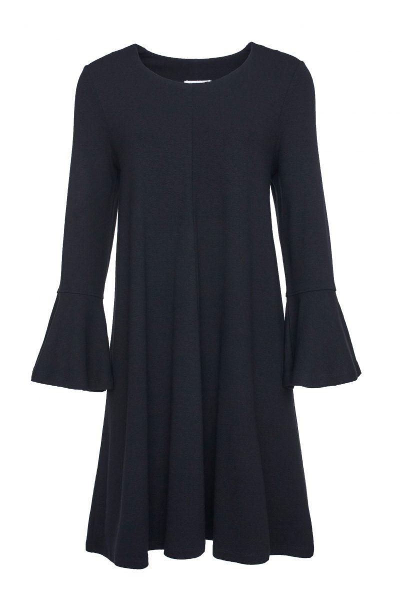 Sort jerseykjole med vippeermer Katrin Uri - 627 The line volang dress