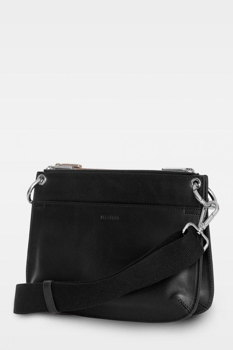 Liten sort skinnveske med ytterlommer Decadent Copenhagen - 586 Alba double bag