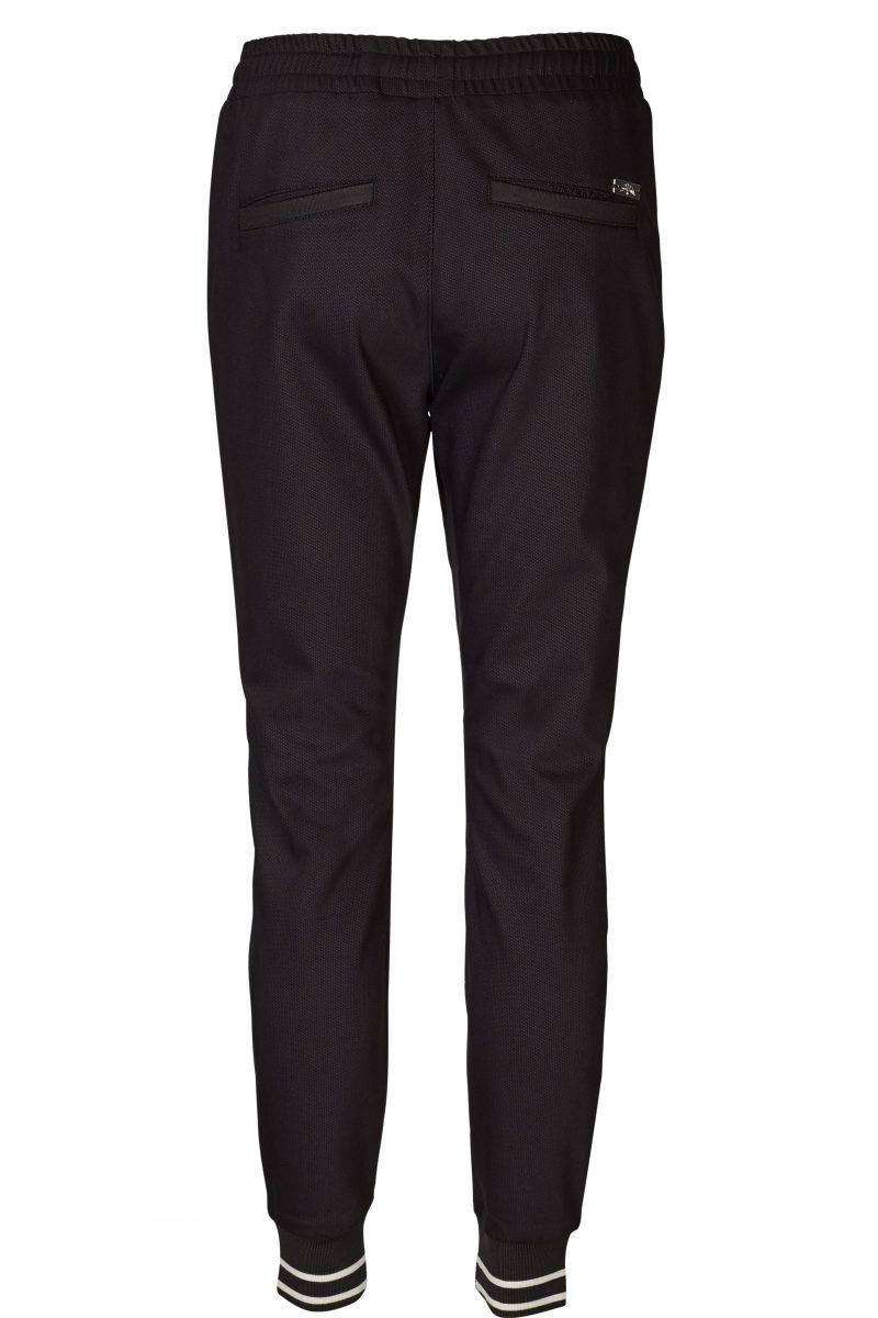 Sort track pants med zip og kobberfarget strikk nederst Mos Mos - 120190 levon celeb pant