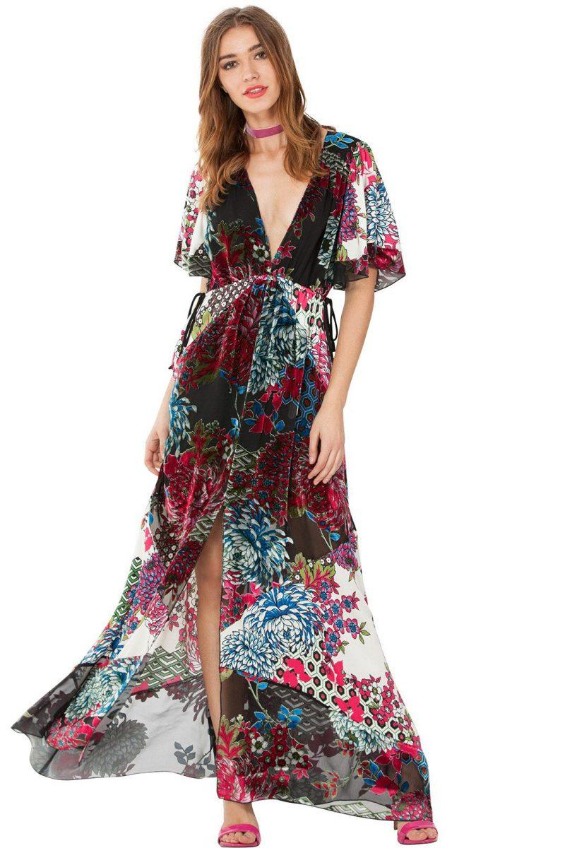 Velour vintage lang kjole Hale Bob - 77an6394