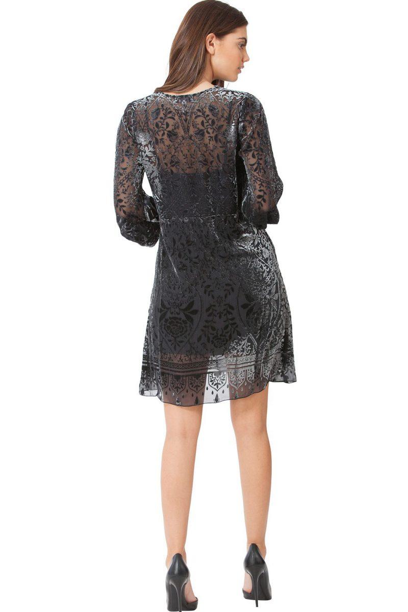 Gråsort blondevelour kjole Hale Bob - 77mm6403