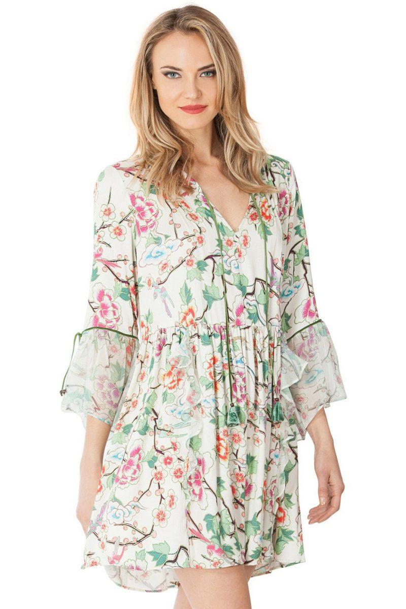 Kremgrønn mønstret kjole med japansk mønstre Hale Bob - 77yl6404