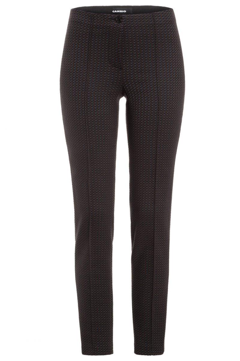 Brungråblå ziczac mønstret smal bukse Cambio - 6703 0202-00 ros