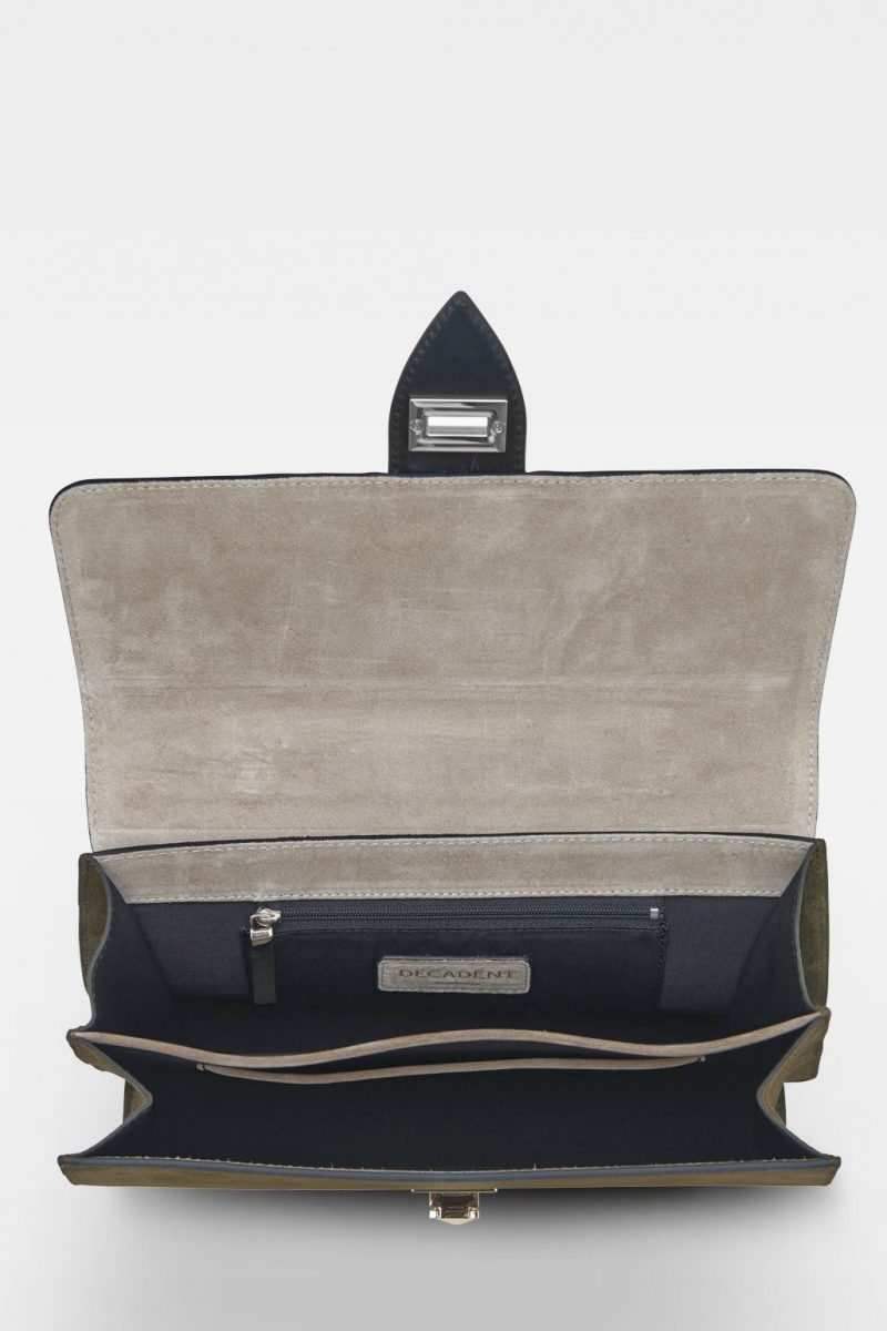 Håndveske med semsket army og vegital skinnkvalitet og crossover rem Decadent Copenhagen -  594 aleah handbag