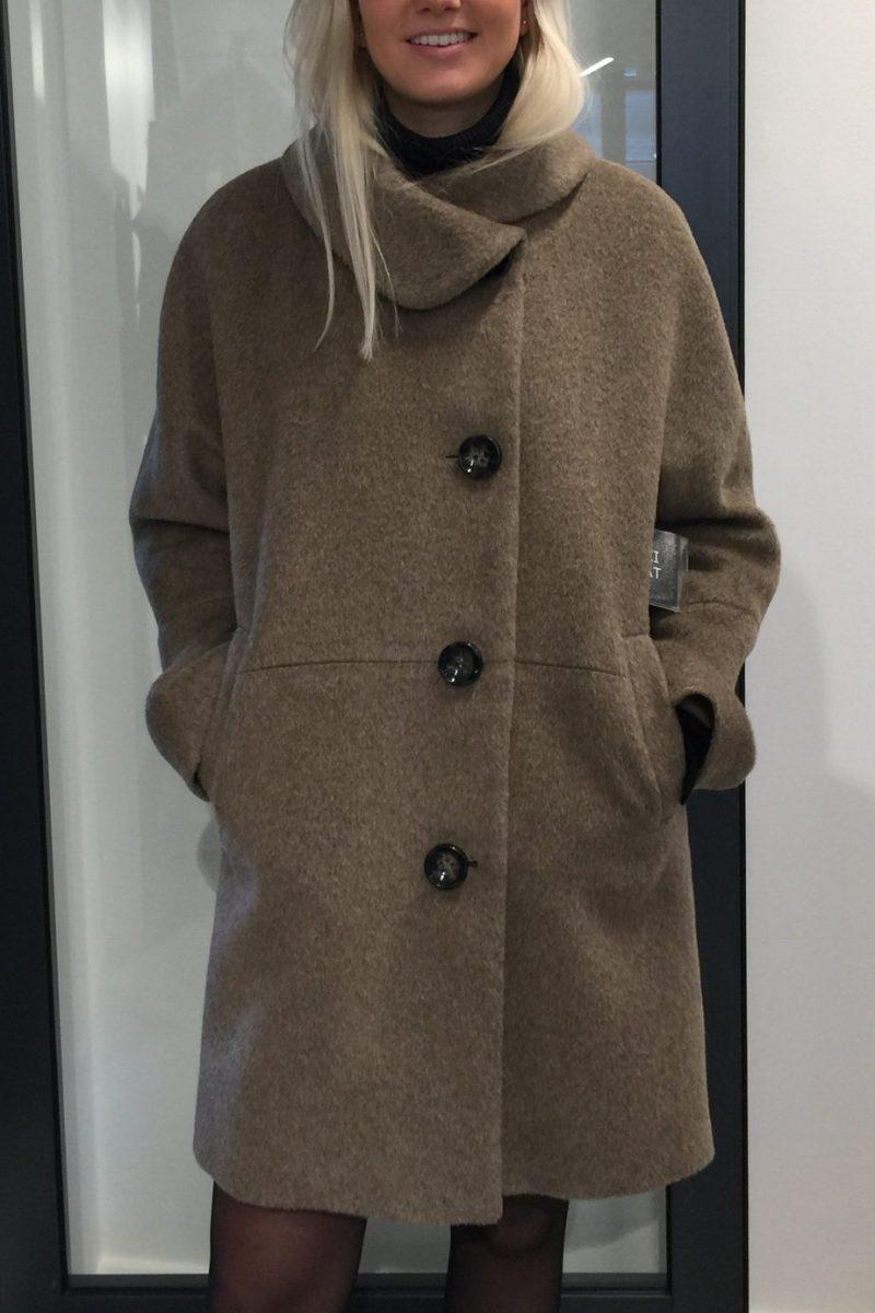 Mørk beige alpakka kortere kåpe Dixi coat - 8505 655 (88 cm)