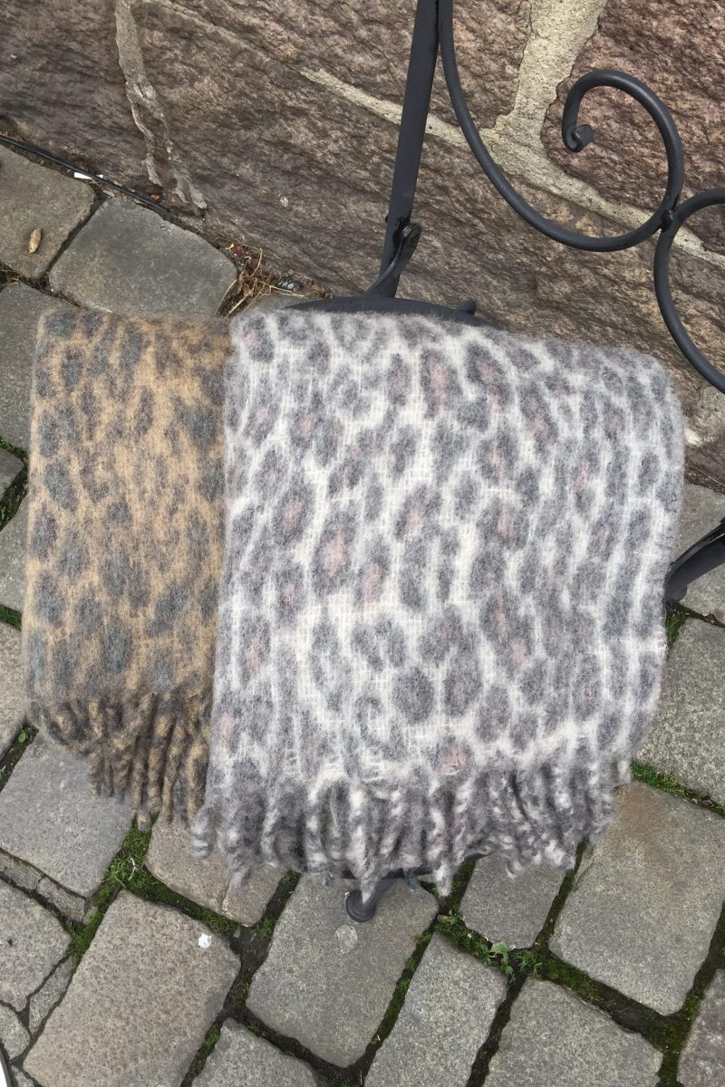 Grå eller camelgrå leopard ullmiks skjerf Becksöndergaard - 722001 Racie