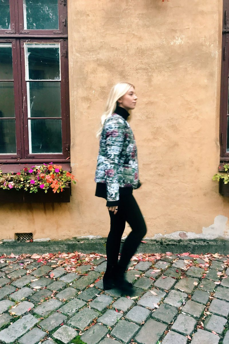 Grønnblomstret boblejakke Katrin Uri - 514 Vinter garden down jacket