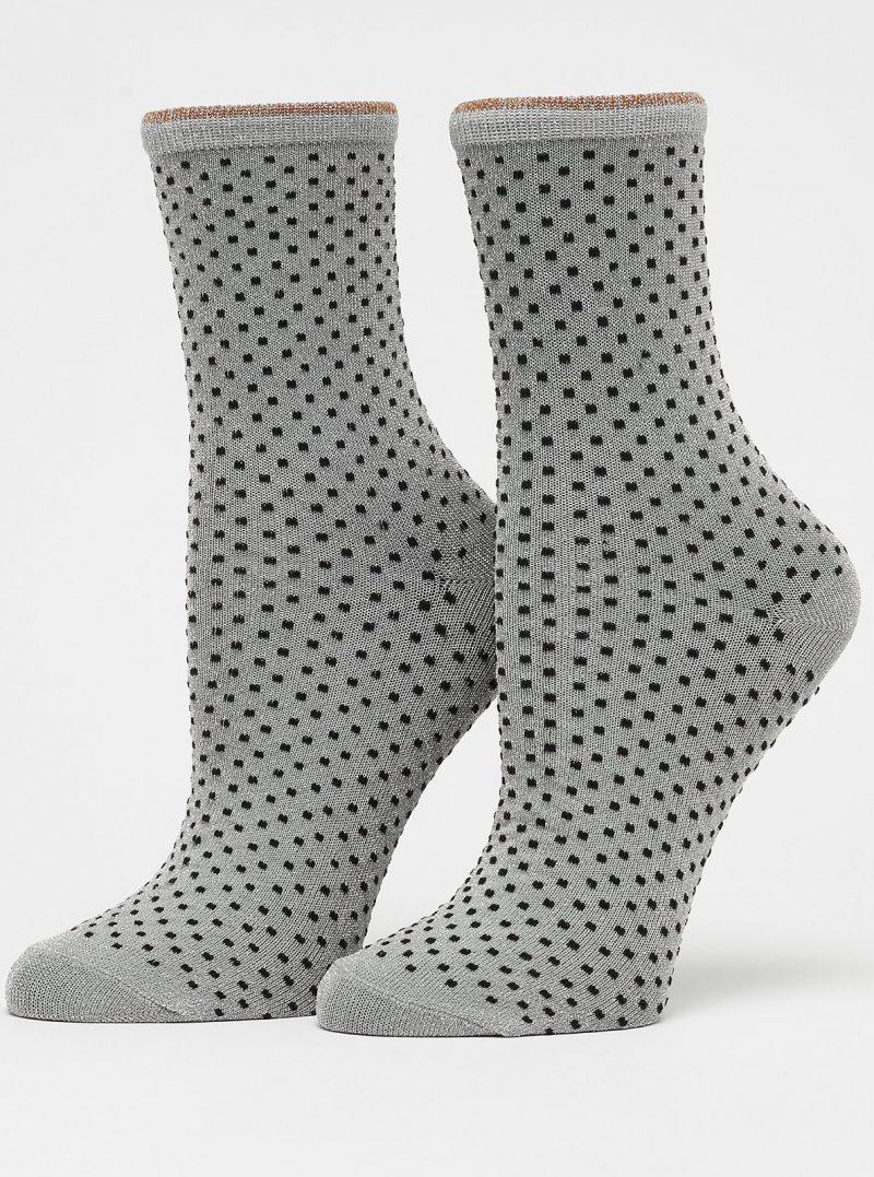 Grå prikket sokk Becksöndergaard - 0000848002 dina small dots 037