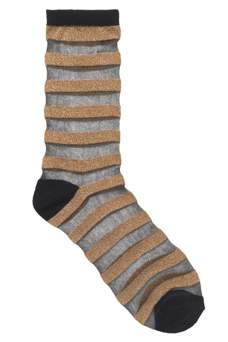 Gull/sort stripet gjennombrutt sokk Becksöndergaard - 856001 dagmar stripe 817