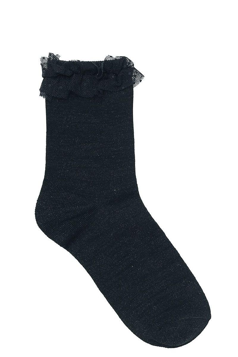 Sort metallic sokker med rysjekant Becksöndergaard - 854001 dory frill 010