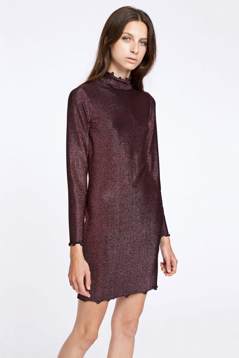 Oberginerosa lurex poloaktig kjole Samsøe Samsøe - jennie dress 9559