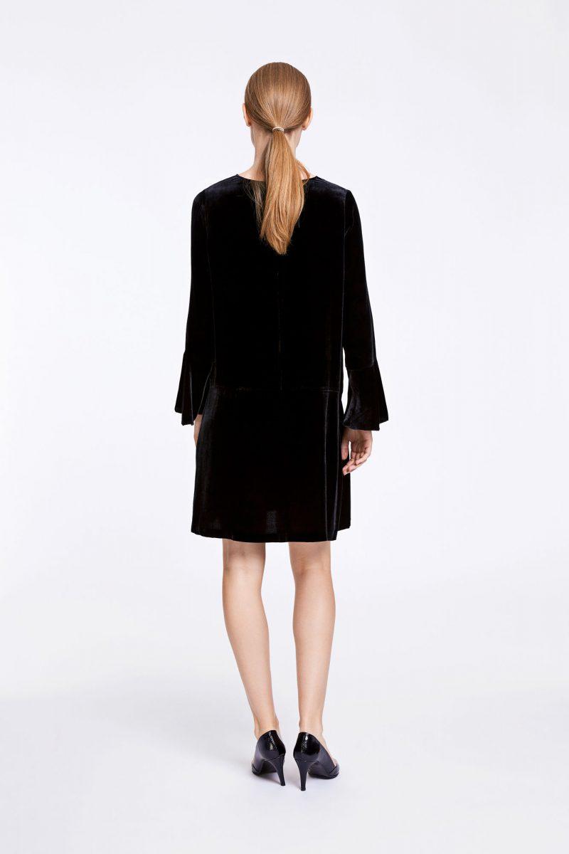 Fersken, fiolettblå eller sort velour Kjole med volangermer Samsøe Samsøe - nikita ls dress 6627